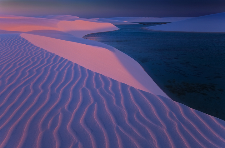 lencois maranhenses,sand dunes, pink, sand, twilight, brasil, lagoon, beach, sunset , photo