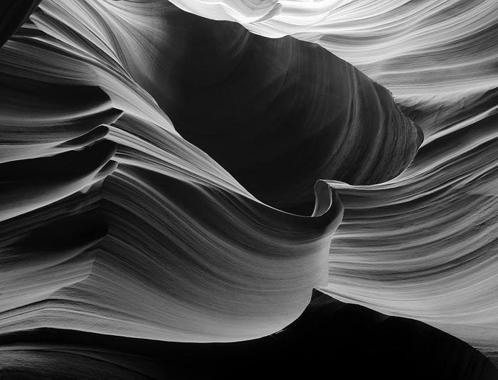 slot canyon, antelope, waves, sandstone, redrock, black and white, photo