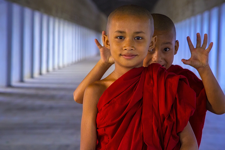 monks, children,playing, portrait, burma, bagan, myanmar, tunnel, blue, faces, photo