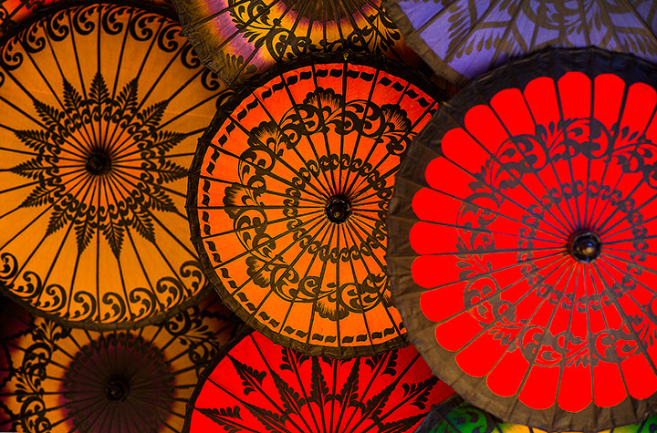 parasols, umbrellas, burma, myanmar, culture, color, photo