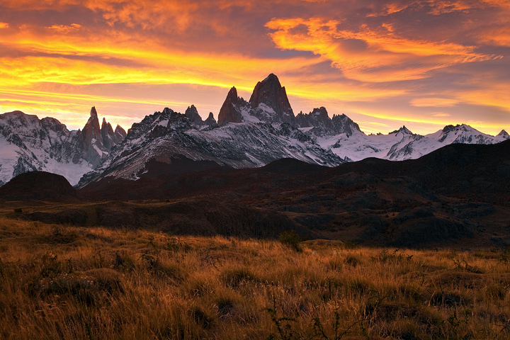 patagonia sunset,fitzroy,cerro torre,clouds,el chalten,orange,argentina landscapes,los glaciares, photo