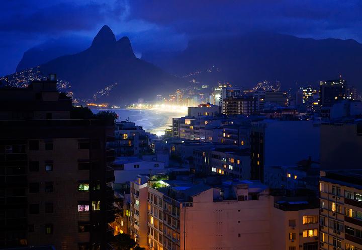 rio de janeiro, brazil, twilight, ipanema, beach, lights, brasil, city, photo