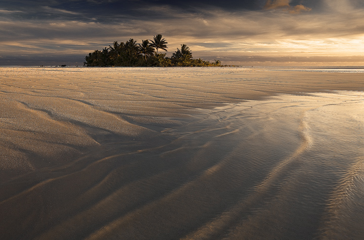 maina island, aitutaki, cook islands, photos, pictures, dunes, oasis, sunset, photo