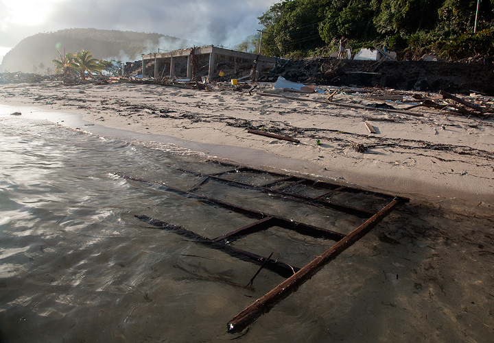 When the massive Tsunami struck Litia Sini's Beach Fales, the restaurant and deck were destroyed and smashed up into the steep...