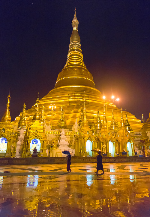 shwedagon paya, shwedagon pagoda, reflection, rain, umbrellas, monks, night, buddhism, burma, myanmar, photo