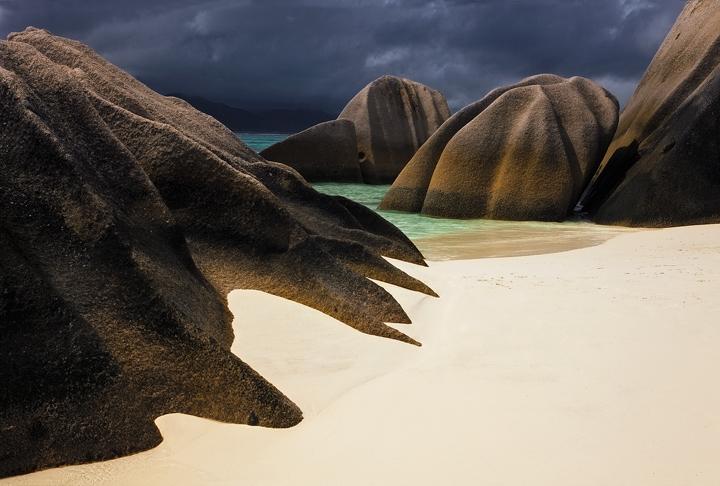 seychelles, anse source d'argent, boulders, rocks, sand, storm, la digue, island, paradise, beach, white sand, photo