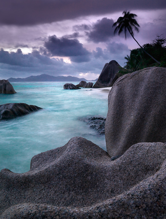 seychelles picture,la digue island,boulders,sunset,anse source d'argent beach, photo