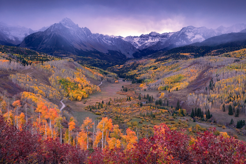 Sneffels, Fall, Colorado, Aspens, Ridgway, San Juan, Mountains, sunset, snow, photo