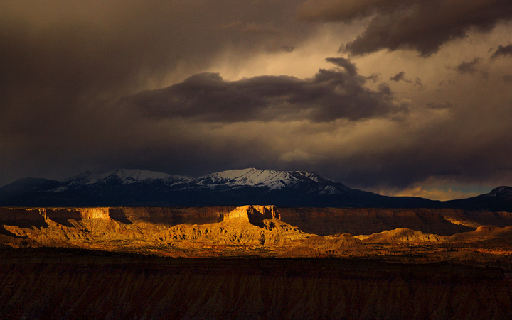 Strike Overlook, Grand Staircase-Escalante National Monument, Utah.  Exquisite sunset light etches the remote cliffs and buttes...