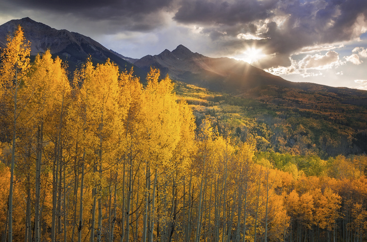 Colorado, Fall, aspens, Telluride, Ouray, Wilson, sunset, glow, sun star, autumn, rocky mountains, photo