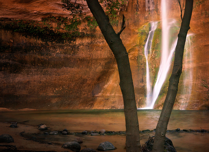 calf creek falls, grand staircase escalante,waterfall, redrock,sandstone,pool,glow,reflection, photo