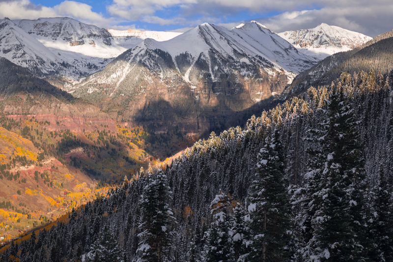 Telluride, Autumn, Fall, snow, Ajax, san juan, mountains, Colorado, aspens, sunset, photo