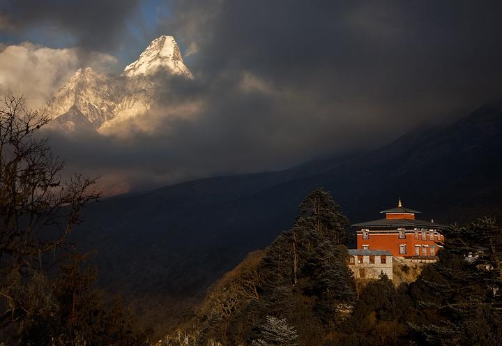 tengboche,monastery,everest trek,ama dablam,nepal,himalaya,trekking,sunset,shangri la, photo