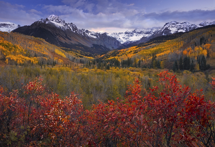 Colorado, fall, Sneffels, Dallas Divide, aspens, sunset, San Juans, Telluride, Ouray, Rocky Mountains, photo