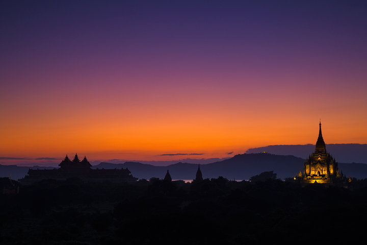 bagan, temples, sunset, twilight, lights, burma, myanmar, buddhism, Mt Popa, photo