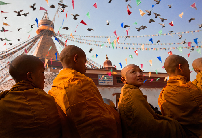 bodhnath stupa,kathmandu culture,pidgeons,monks,bodhnath ceremony,nepal, photo